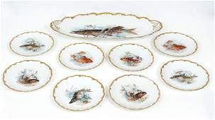 painted Fish Platter w 8 Limoges Fish Plates
