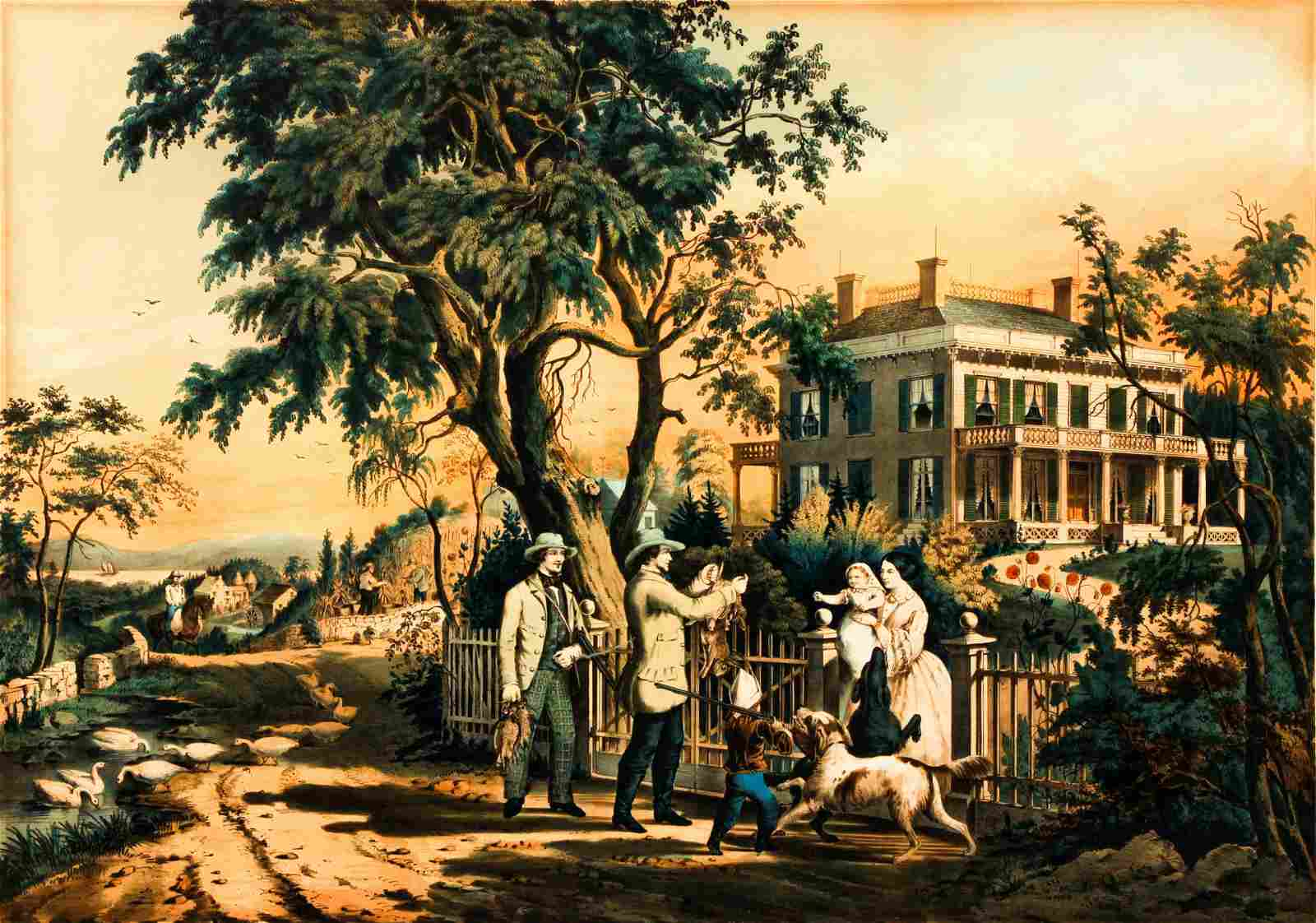 Currier & Ives American Country Life Lithograph