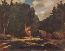Regis Gignoux Oil Painting Rapids Rocks Trees