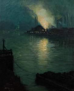 Aaron Gorson oil Steelmaking Nocturne circa 1920
