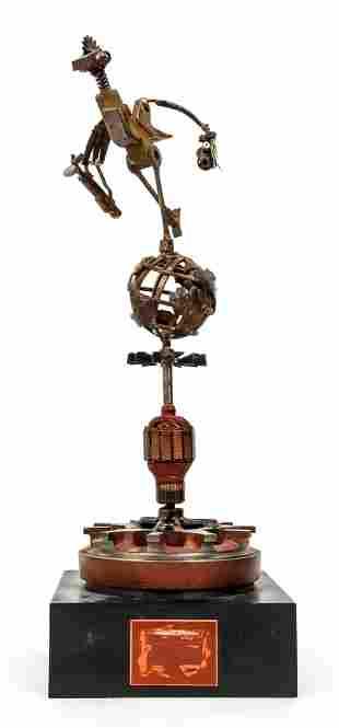 Brutalist Sculpture of Globe Trotting Bird