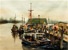 William Vrscak Harbor Scene Watercolor