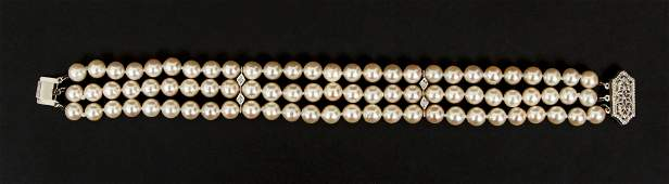 Cultured Pearl and Diamond Triple Strand Bracelet