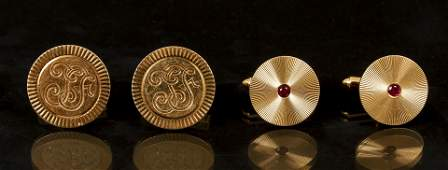 2 Pairs of 14K Yellow Gold Cuff Links