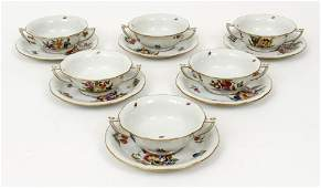 Set 6 Herend Soup Cups and Saucers Fruit Flowers