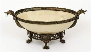 Gilt bronze porcelain centerpiece bowl