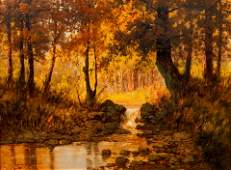 Laszlo Neogrady oil Stream in the Forest