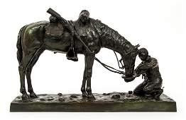 Charles Schreyvogel 1903 bronze The Last Drop
