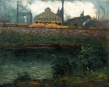 Aaron Gorson Oil Industrial Embankment along The River