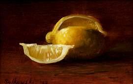 James Sulkowski oil still life Sliced Lemons
