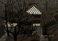 Kiyoshi Saito 1965 woodcut Aizu Yanaizu Fukushima