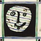 Pablo Picasso 1956 ceramic tile Mask AR 310