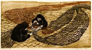 Ruth Keys Net Menders 1963 woodcut
