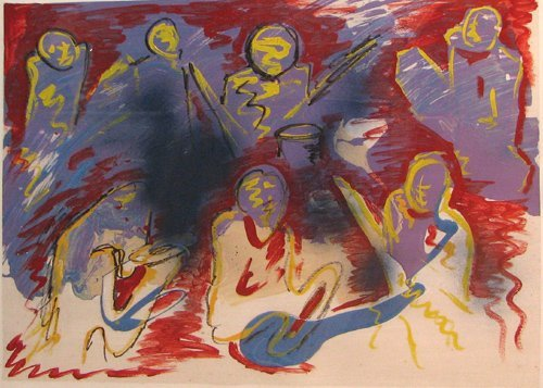 12: Stephens Jay Carter Jazz Players Painting on Paper
