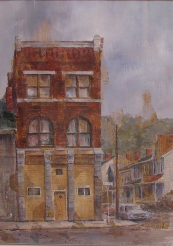 13: Cynthia Cooley mixed media Pittsburgh Street Scene