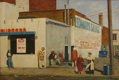 "17: Joseph Eiser ""Leonard's Salvage"" oil ptg"