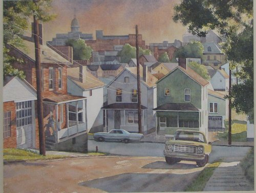 21: Nancy Galm View of Greensburg watercolor