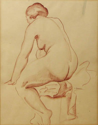 510: Emil Ganso Wash drawing The Bather
