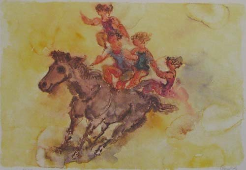 511: Chaim Gross orig litho Bareback Riders