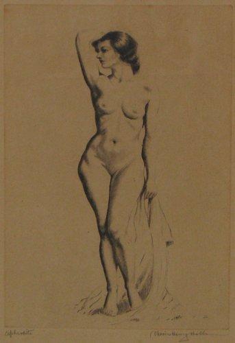 513: Morris Henry Hobbs orig etch Aphrodite