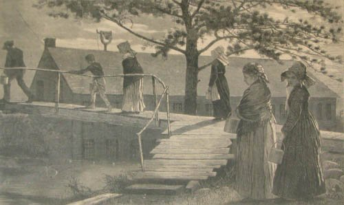 """514: Winslow Homer wood engraving """"The Morning Bell"""""""
