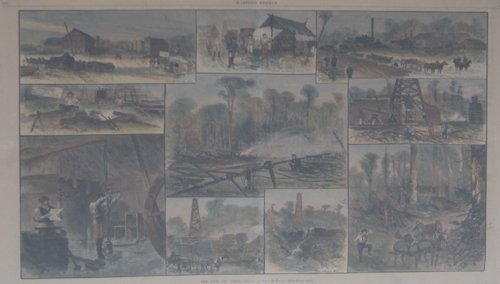 515: 4 double plate framed 19th Century Harpers of Indu