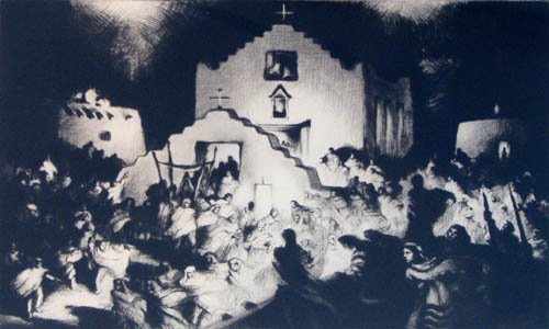 521: Gene Kloss Processional Taos 1948 drypoint etching