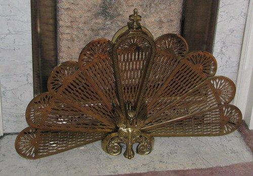 575: Victorian Brass Folding Peacock Fireplace Screen