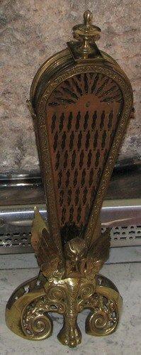 575: Victorian Brass Folding Peacock Fireplace Screen - 2