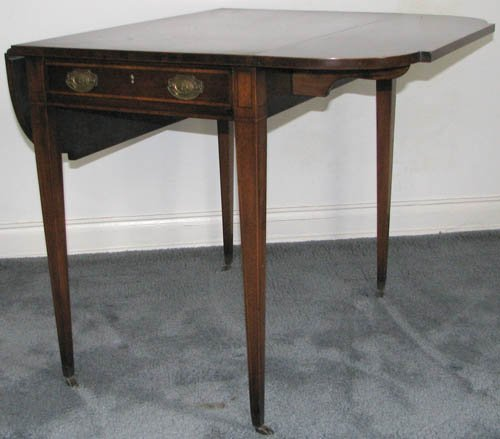 606: Antique Drop Leaf Table with brass hardware