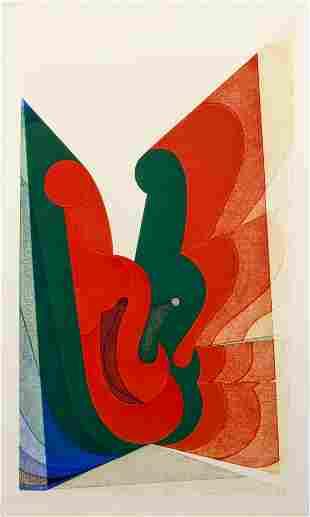 Kazumi Amano 1969 Abstraction embossed woodblock