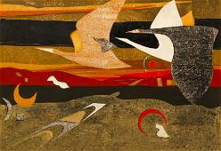 Yoshiharu Kimura 1969 color woodcut Grey Birds