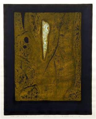 Tajima 1976 color woodcut Works - Yellow
