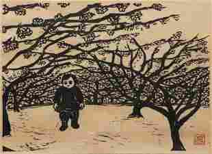 Boy in a Plum Orchard Japanese Woodblock