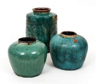 3 Chinese Stoneware Turquoise glazed pots
