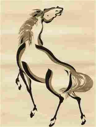 20th Century Chinese woodblock School Horse