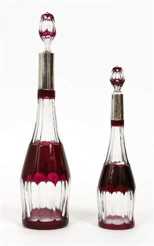 2 Cut to clear Bohemian Decanters with 800 silver necks