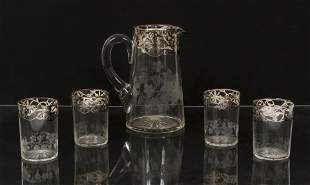 Pitcher and 4 tumbler set with sterling overlay