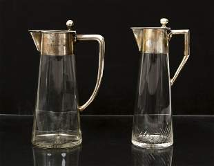 2 20th Century German Pitchers with 800 silver
