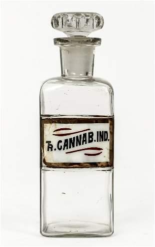 Vintage Cannabis Tincture Apothecary Glass Bottle