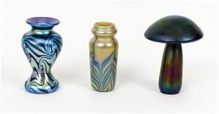 3 Iridescent Art Glass Mushroom Vases Lundberg