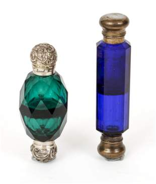 Pair Cut Crystal Vintage Perfume Bottles