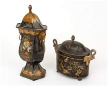 2 lidded tole ware pieces