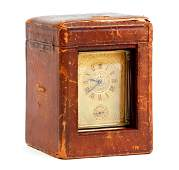 French Brass Carriage Clock Leather Box