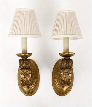 Pair of gilt bronze scrolling wall sconces