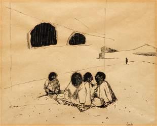 mid 20th Century ink drawing, Indigent Boys