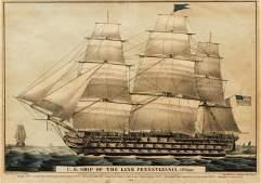 N Currier Ship Pennsylvania hand colored lithograph