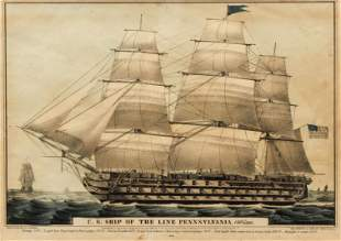 N. Currier, Ship Pennsylvania, hand colored lithograph