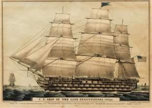 N. Currier, Ship Pennsylvania, hand colored lithograph