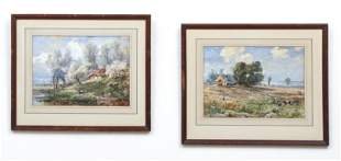 Regis Gignoux 2 Watercolors French Countryside